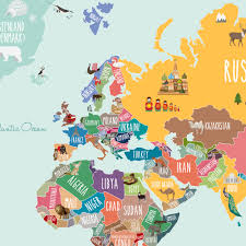 scholastic summer picks wall stickers and posters close up image of the countries of the world map poster sticker showing notable