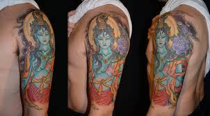 colorful spiritual krishna tattoo on left full sleeve for girls