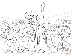 sunday coloring page the good shepherd with and sheep