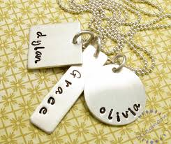 Engraved Charms Personalized Necklace Three Silver Charms Three Names Square