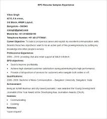 Examples Of Objective In A Resume by Bpo Resume Template U2013 22 Free Samples Examples Format Download