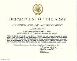 Certificate Of Achievement Army Template the army certificate of achievement citizen soldier resource center