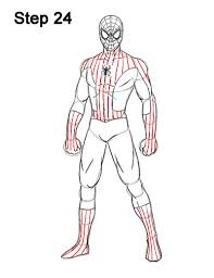 draw spider man body