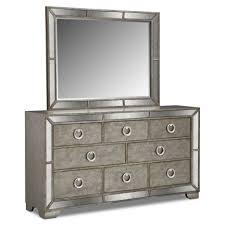 Metal Bedroom Dresser Large Grey Metal Bedroom Dresser With Square Framed Mirror
