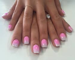 pink and white ombré dip powder nails for the bride to be done by