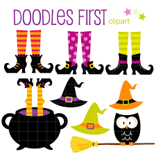 witch feet and hats halloween digital clip art for
