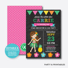 instant download editable aloha luau birthday invitation luau