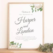 wedding welcome sign template instant wedding welcome sign template ivory botanical