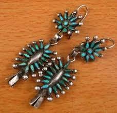 Aegean Chandelier Earrings Turquoise Blue Wayne Johnson Zuni Sterling Silver U0026 Turquoise Petit Point
