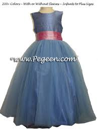 rose pink and french blue tulle junior bridesmaids dress pegeen