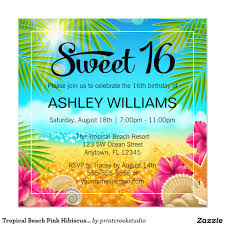 Sweet 16 Birthday Invitation Cards Tropical Beach Pink Hibiscus Sweet 16 Birthday Invitation Sweet