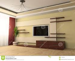 interior design modern small hotel room with tv stock image