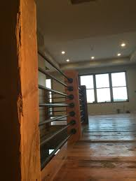 Laminate Flooring Around Pipes Steel Pipe Spindles Hemlock Floor Boards Solid Beam Hand Rail