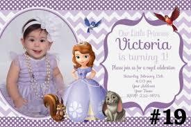 sofia birthday party invitation photo chevron