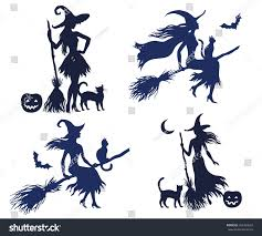 set vector silhouette halloween witches on stock vector 324363629
