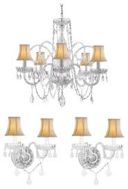 Chandelier Wall Sconce 3 Piece Set Crystal Chandelier And 2 Wall Sconces With White