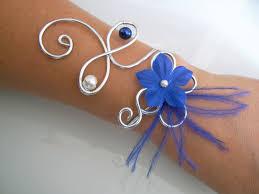 Bracelet Fleur Mariage Bracelet Bleu Saphir Roi Marine Foncé Nuit Ivoire Argenté P