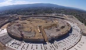 apple spaceship campus progress shown in new drone video