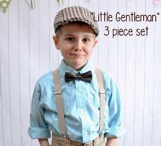 ring bearer boys newsboy hat bow tie suspenders