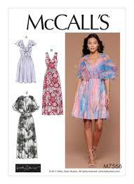 design dresses mccall s 7566 misses v neck ruffle and cape style dresses
