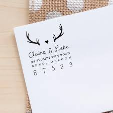 personalized return address stamp antlers address stamp wedding