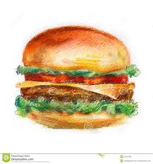 hamburger burger on a white background fast food stock