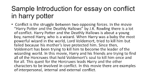 sample introductions for essays harry potter the deathly hallows conflict examples of person vs 8 sample introduction