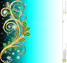 background with precious stones and gold ornaments stock image