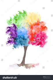 rainbow tree on white watercolor painting stock illustration
