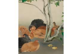 kagedo japanese art doi soju painting of chickens u0026 summer