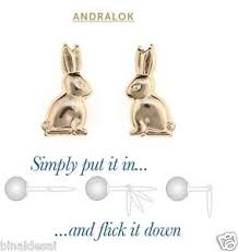 andralok earrings kids 9ct gold andralok small bunny rabbit studs earrings