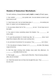 modals of deduction worksheet worksheet free esl printable