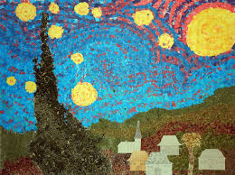 art projects for kids starry night collage using mural template