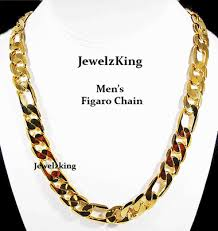 mens figaro chain necklace images Mens 12mm 14k gold finish figaro chain necklace jewelzking gif