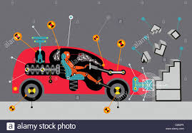 crash test dummy in car hitting wall stock photo royalty free