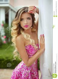 pink dress beauty blond model girl in fashion pink dress with makeup and lo