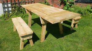 Picnic Table With Benches Bench Picnic Tables With Detached Benches Round Wooden Picnic