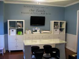 adjustable home office decor ideas with blue painted wall combine