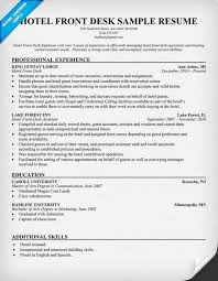 Hotel Management Resume Examples by Hotel Front Desk Resume Resumecompanion Com Travel Resume