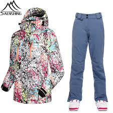 saenshing skiing jacket pants women ski suit winter thermal