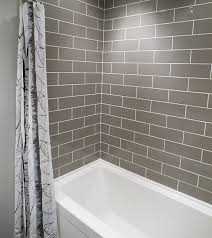 Bathroom Shower Tub Ideas Colors Gray Subway Tiles In The Shower Are Cool And Sophisticated