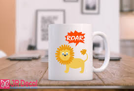 lion with roar funny coffee mug novelty gift printed morning tea