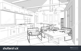 house interior sketch 3d illustration stock illustration 499697593