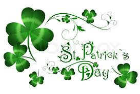 st patrick day greeting with shamrocks stock photo colourbox