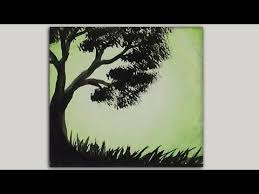 mini acrylic painting tree silhouette