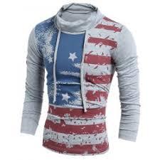 American Flag Cardigan Heaps Collar American Flag Long Sleeves T Shirt In Gray M