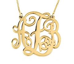 gold plated monogram necklace 24k gold plated split chain monogram necklace