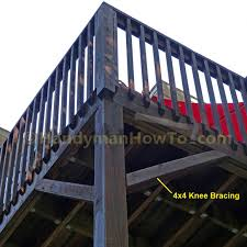 how to install deck post knee braces