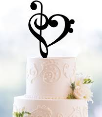 heart cake topper treble bass clef heart cake topper heart wedding cake