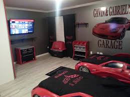 shabby black and red bedroom interior theme with double corvette